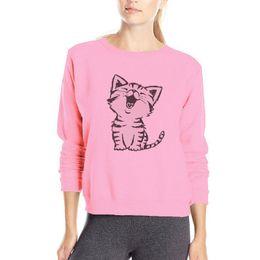 Autunno / Primavera Lovely Kitten Felpe Womens Pink outwear Felpa in cotone Felpa con cappuccio stile allentato di alta qualità cat cucita con cappuccio cheap cat hoodie pink da gatto con cappuccio rosa fornitori