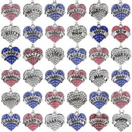 2019 бабушки ожерелья 45 видов Бриллиантовое Сердце любви ожерелье кристалл член семьи Мама Дочь Учитель Бабушки Верить Вере, Надежде, подвески ожерелья женщины дешево бабушки ожерелья