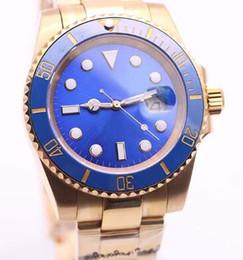 Safira azul ouro amarelo on-line-Sapphire 116618LB 40 MM Dial Azul Pulseira De Ouro Amarelo Mecânico Automático Mens Watch Unidirecional Bezel Rotativo Com Um Anel de Cerâmica Top
