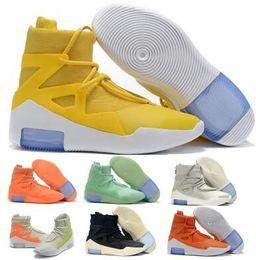 2019 Fear Of God 1 Баскетбольная обувь Кроссовки Проветривающие модельеры Оранжевый Импульсный свет Кости Амарилло Желтые ботинки противотуманной фары Zoom Мужчины Женская обувь от