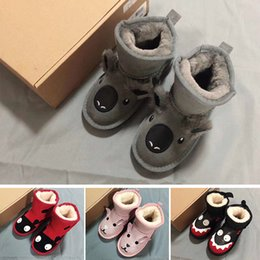 17cdf601f7b Girls Australia Style WGG Kids Snow Boots Cute Bow Back Waterproof Slip-on Children  Winter Cow Leather Boots 3280 Brand Ivg designer shoes