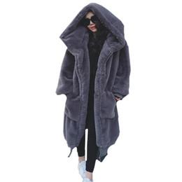 Casacos de inverno mulheres extra longas on-line-Mulheres Faux Fur casaco longo moda de peles com capuz jaqueta outwear zíper para cima extra longo casaco streetwear solta roupas de inverno de grandes dimensões