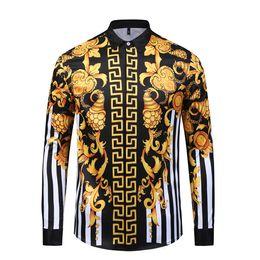 camisas de diseñador de flores para hombre Rebajas Diseñador de moda Camisas de hombre 3D Medusa Negro Oro Estampado floral para hombre de manga larga de negocios Casual Slim Fit camisas