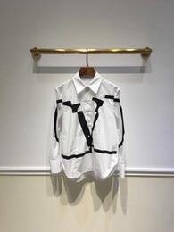 Vestidos de algodão branco xl on-line-High End Milan Runway Vestido 2019 Camisas das Mulheres de Algodão Branco Designer de Carta de Impressão das Mulheres Blusas Logotipo 99202