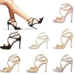 Taille de fille talon haut blanc en Ligne-Femmes Designer Sandales Kate Styles Mode Fille de luxe à talons hauts 10CM 12CM LANCE noir rose blanc Argent Cuir Taille du point 35-42