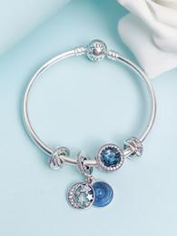 Bracelets étoile bleue en Ligne-2019 pandora charmes designer de luxe bijoux femmes Pandora Bracelet Femme Blue Star Moon 925 Pur Argent Perles Serpent Os Chaîne