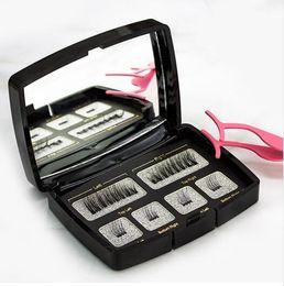 Picos de tiragem 3d on-line-2sets Hot / lot cílios invisível magnética Magnetic Lashes Mink cílios com uma pinça 3D Mink Lashes tira grossa completa cílios postiços