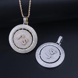 2019 placas giratórias Hip Hop personalizado para fora congelado Spinning pingente com Tenins Corrente de Ouro Cor Prata banhado Jewelry For Men presente desconto placas giratórias