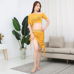 2019 roupas orientais Sexy Lantejoula de Malha Top Colheita Mulheres Saia Trajes de Dança Do Ventre Terno Trajes para Venda Oriental Dançando Roupas Conjunto de Dança do Ventre Desgaste desconto roupas orientais