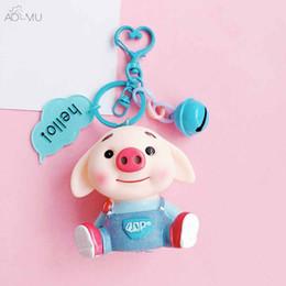 Joyería azul campana online-AOMU Blue Cute Pig Cartoon Bell Lanyard Car Bag Accesorios Joyería Llavero Para Mujeres Niñas Colgante Trinket Llavero Llavero