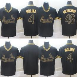 46 Paul Goldschmidt St. Louis 2019 Edição Dourada Jersey 4 Yadier Molina Stithced Nome Número Cardeais Baseball Jersey Preto S-3XL de