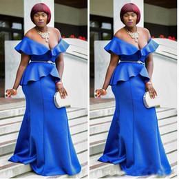 2019 concurso de ropas Sexy con cuello en v nigeriano satinado con volantes sirena vestidos de noche azul vestidos de fiesta africanos formal Robe De Soiree más el tamaño de vestidos de baile concurso concurso de ropas baratos