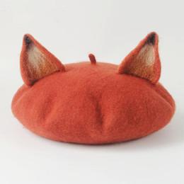 Katze barett frauen online-New Retro Frauen netten Ohr-Beret Caps Wollmischung Lässige Warm Painter Hut handgemachte Nick-Katze-Ohr-Barett-Hut heißes Geschenk