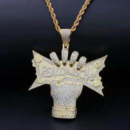 hip-hop-schmuck europa Rabatt Europa und Amerika Trendige Hip Hop Halskette Schmuck Gelb-weißes Gold CZ Wirklich Riche hängende Halskette für Männer Frauen