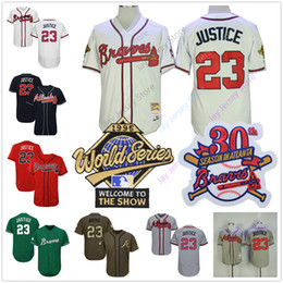 Canada Maillot David Justice Atlanta Cooperstown Braves 1995 WS World Series Domicile Extérieur Pull-over Bouton Tout cousu Flexbase Cool Base cheap button base Offre