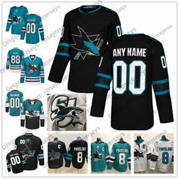 Jersey hockey vintage xl online-Custom San Jose Sharks 2019 Nero Terza maglia Qualsiasi numero Nome uomo donna bambino ragazzo Bianco Verde Verde Vintage Burns Karlsson Kane Pavelski