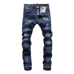 Jeans les plus chauds pour les hommes en Ligne-chaude 2019 Hommes déchiré Denim Tearing Jeans Bleu marine Coton mode Tight printemps automne pantalon pour hommes A8059 PHILIPP PLEIN DSQUARED2 DSQ2 D2