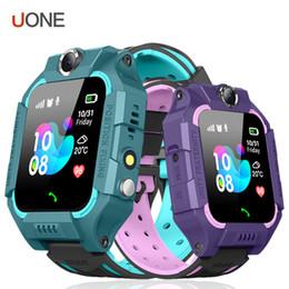 Tarjeta sim gps tracker online-Z6 Niños Reloj inteligente Bluetooth IP67 Tarjeta SIM a prueba de agua LBS Tracker SOS Niños Smartwatch para iPhone Android Smartphone