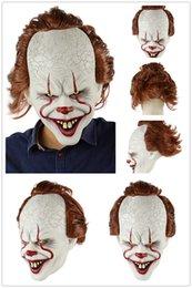 латексные фильмы Скидка Силиконовые Movie Стивена Кинга Joker маска анфас Horror Клоун Латекс маска Halloween маски партии Ужасное Косплей Prop маска A227
