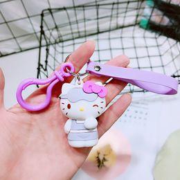 c09ccce76 Cute Purple Cat Hello Kitty Doll Keychain Leather Rope Key Ring Holder  Animal Key Chain Keyring Charm Bag Car Pendant Gift