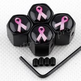 Accessoires de cancer du sein en Ligne-Anti-vol Air Bouchon anti-poussière Roue Pneu Tire Valve Cover Hat Voiture Véhicule Véhicule Accessoires pour Cancer Du Sein Rose Ruban Partie Garniture