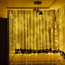 Comercio al por mayor 768 LEDs Iluminación Navideña de Navidad 110 V 220 V Fiesta de Jardín de Navidad 6X4 Metros 9 Color 8 Modos Interior Cortina Decoración Lámparas desde fabricantes