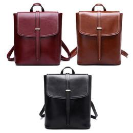 2019 старинные сумки в колледже Fashion Multifunction Women's Genuine Leather Vintage Backpack Rucksack Girls Casual Shoulder School Bag College Bookbag New дешево старинные сумки в колледже