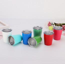 Copos de 9 oz on-line-Fedex 9 oz 12 oz crianças copo copo de aço inoxidável lindo copo de canudinho pequeno copo com tampa e palha portátil