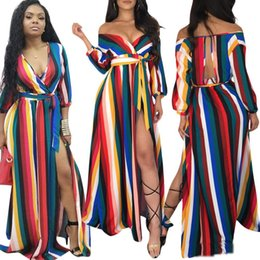 Canada Coloré Coloré Femmes Maxi Dress Plus La Taille S-3XL Retour Creux Out Wrap V Cou À Manches Longues Hors Épaule Haute Split Long Robes De Fête Offre