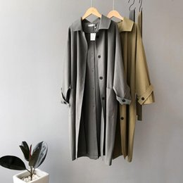 Herbst Taille zurück Knopf beiläufige Trenchcoat Frauen Kleidung Aufmaß justierbare Taille Weinlese lose Outwear