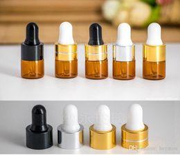 Amber perfume bottle en Ligne-Flacon compte-gouttes ambre 1 ml 2 ml 3 ml 100 pcs Mini-bouteille en verre Flacon de présentation pour huiles essentielles Petit parfum de sérum Couleur ambre