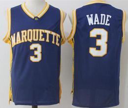 Camisas do uniforme do azul marinho on-line-2019 uniformes da equipe NCAA Men Basketball Marquette Eagles dourado Dwyane Wade Colégio Jerseys Universidade Azul marinho Cor Esporte respirável