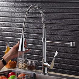 Cromo chapeamento de escova on-line-Níquel escovado Chapeamento Cromado Primavera Torneira Da Cozinha Pull Out Mixer 2-Função de Água Tomada de Água Torneira Giratória de 360 graus