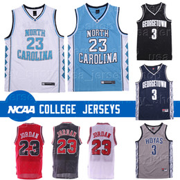 l basketball jerseys Promo Codes - North Carolina Tar Heels 23 Michael Jersey Allen 3 Iverson Georgetown Hoyas Ncaa Basketball Jerseys Low Price Free Shipping
