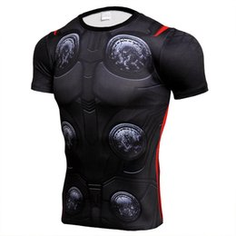 superman prints Coupons - Avengers 4 Printed Supermen Short Sleeve T shirt Men Breathable Fashion NEW Sport Slim Bodybuilding Running Jogging Fitness Sportswear