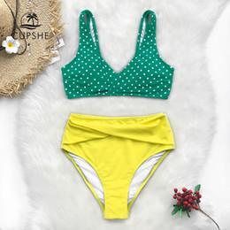 bikini jaune boho Promotion CUPSHE vert à pois et jaune taille haute réservoir Bikini Ensembles femmes Boho Maillots deux 2019 Fille de plage Maillots de bain