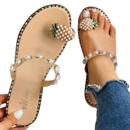 bohemien di sandali piani delle signore Sconti ladies sandals summer casual sandals Women's Flat Toe Pineapple Pearl Bohemian Casual Shoes Flat with Beach Sandal Slippers 2020