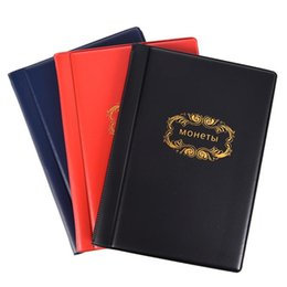 coin collection album Promo Codes - 3 Colors Russian Coin Album 10 Pages 120 Pockets Coin Collection Book Holder Mini Hand Size Album Book Black Blue Red