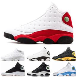Nike air jordan 13 13s Vente en gros 13 13s Chaussures de basket-ball pour hommes Italie Classe de melo bleu de 2003 Argent pur Black Cat élevé Flint Baskets taille 7-13 ? partir de fabricateur