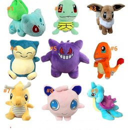 Juguete de peluche hechicero online-12-20cm 15 styles Pikachu Plush Toys dolls Squirtle Charmander Bulbasaur Pikachu Plush cartoon Stuffed animals soft Christmas gift toys