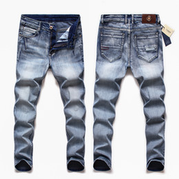 dunkle wäsche zerrissene dünne jeans Rabatt 2020 Herbst Winter Marke Jeans Herrenmode Ripped Dark Wash Slim Fit Jeans Plus Size Skinny Plus Size 40 42 44 46