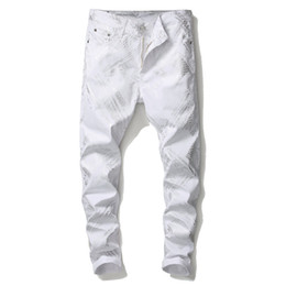 2021 impressões digitais Newest Mens 3D Digital Printed White jeans Fashion Designer Straight Leg Slim Fit Denim Pants Hip Hop Cheap Trousers Big Size 5639