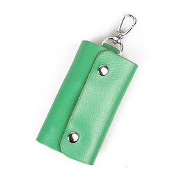 candy bags keychain Promo Codes - Split Leather Key Wallet Men Keychain Key Case Bag Women Auto Car Ring Holder Housekeeper Candy Colors Coin Pocket Wallets