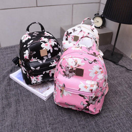 школьная сумка из искусственной кожи Скидка 2018 New Style Fashion Ladies Floral Backpack Travel Faux Leather Print Floral Rucksack Shoulder School Bag