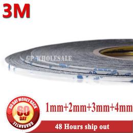 2019 klebestreifen 3m Großhandel-2016 Mix 4 Rollen 1mm / 2mm / 3mm / 4mm 3M schwarz doppelseitiges Klebeband Streifen klebrig für Handy Tablet Touchscreen Panel Gla rabatt klebestreifen 3m
