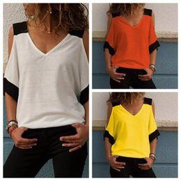 2019 hba vlies 2020 neue Sommer-Frauen übersteigen Frau-T-Shirt Top mit V-Ausschnitt Sexy Backless Weste T Shirt Kurzarm Weste Kleidung für Frauen