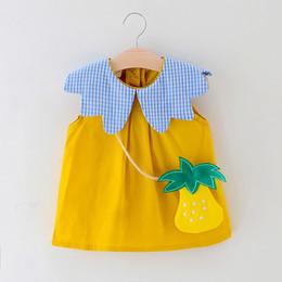 2019 baumwolle bedruckte taschen für mädchen Babykleidung-Sommerbaumwollplaid druckte neugeborenes Babysommerkleid-Mädchenkleider mit Beuteln # G3 rabatt baumwolle bedruckte taschen für mädchen