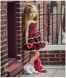 Ropa esponjosa online-Venta caliente de las niñas europeas y americanas de encaje tutu vestido de verano ropa de bebé a cuadros falda de la torta esponjosa