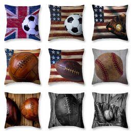 2019 decorazione di calcio 9 stili Softball Baseball Pillow Case Calcio Cuscino Copre Bandiera Vintage Cuscino Calcio Stampato Divano Cuscino Home decor FFA2025 decorazione di calcio economici