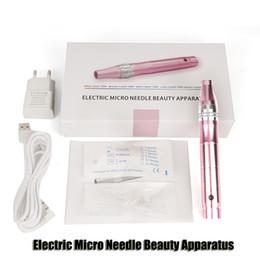 Dhl derma roller en Ligne-Électrique Derma Pen Stamp Auto Micro Needle Microneedle Rouleau de beauté Appareil Anti vieillissement défroisser Scar Skin Therapy Baguette DHL